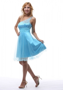 Beaded Aqua Graduation Homecoming Dress Knee-length