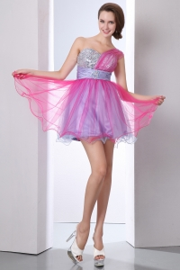 A-line One Shoulder Prom Homecoming Dress Organza