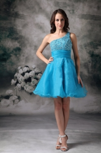 Teal One Shouleder Graduation Homecoming Dress Organza