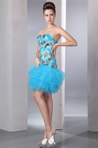 Aqua Blue Prom Homecoming Dress Strapless Tulle