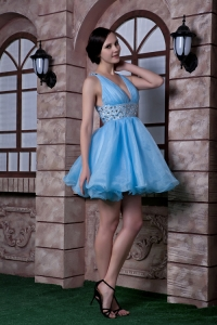 Aqua Blue Organza Beading Cocktail Homecoming Dresses