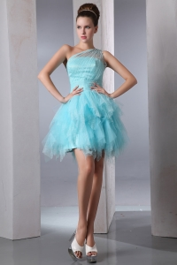 Aqua A-line Prom Homecoming Dress One Shoulder Tulle