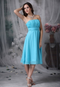 Aque Blue Graduation Holiday Dress Empire Strapless