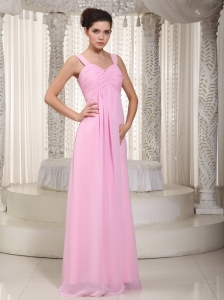 Baby Pink Maxi Evening Dresses Empire Straps Chiffon