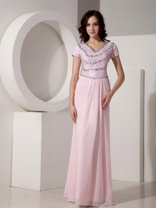 Baby Pink Pageant Evening Dress Empire V-neck Chiffon