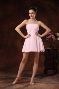 Baby Pink Ruch Club Graduation Cocktail Dress