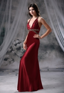 Beading Decorate Halter Wasit Wine Red Evening Dress