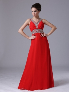 Beaded Decorate Pageant Evening Dress Empire Chiffon