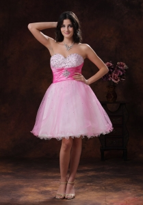 Beadeded Prom Graduation Dress Organza Sweetheart