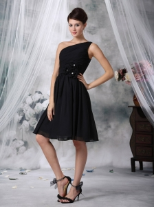 A-Line Prom Little Black Dresses Knee-length Chiffon