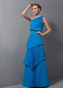 Blue Column One Shoulder Chiffon Maxi Pageant Dresses