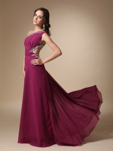 Column Brush Train Pageant Evening Dress Chiffon Beading