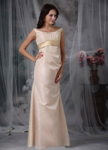 Column Scoop Floor-length Satin Evening Dresses