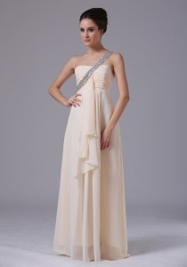 Champagne Pageant Evening Dress Empire Chiffon Ruffles