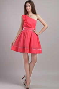 Coral Red One Shoulder Graduation Homecoming Dresses
