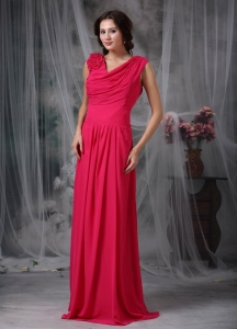 Coral Red Maxi Celebrity Dresses Empire Chiffon