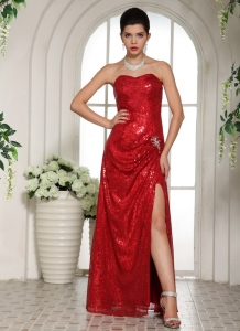 Slit Paillette Over Skirt 2013 Pageant Celebrity Dress Red