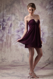 Dark Purple V-neck Chiffon Beading Graduation