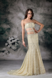 Light Yellow Pageant Evening Dress Empire Strapless