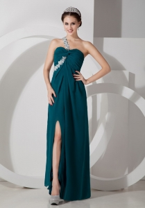 Green Empire Prom Pageant Dress Chiffon Appliques
