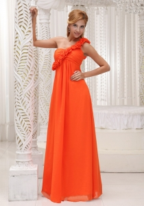 Decorate Prom Maxi Dresses Orange Red Chiffon Empire