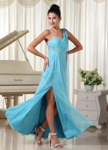 High Slit Aqua Blue Pageant Celebrity Dress Chiffon