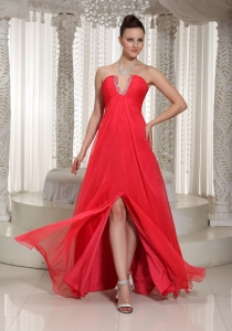 High Slit Red Long Pageant Celebrity Dress