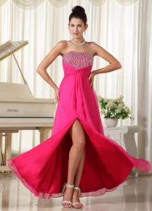 High Slit Pageant Celebrity Dress Strapless Beading