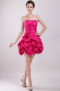 Hot Pink Strapless Taffeta Prom Holiday Dresses