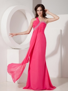 Hot Pink Pageant Evening Dress One Shoulder Beading