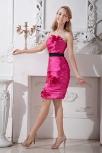 Pink Column Strapless Taffeta HHomecoming Cocktail Dress