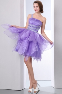 Lavender One Shoulder Prom Homecoming Dress Beading