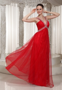 Long Prom Pageant Dress With V-neck Red Chiffon