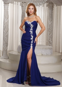 Mermaid Prom Pageant Dress Royal Blue Sweetheart
