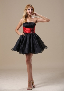 A-line Beaded Prom Little Black Dresses Red Organza