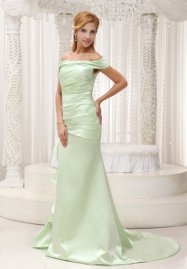 Yellow Green Maxi Evening Dresses Taffeta Brush Train