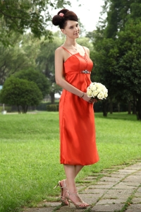 Orange Red Prom Holiday Dresses Straps Taffeta