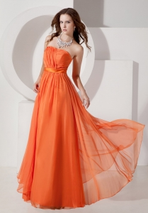Orange Red Empire Maxi Evening Dresses Strapless Ruch