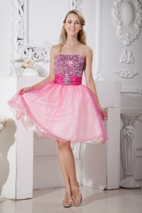 Pink Strapless Taffeta Organza Beading Homecoming Dress