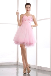 Pink Spaghetti Homecoming Dress Organza Beading