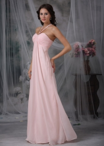 Pink Prom Maxi Dresses Empire Halter Chiffon Ruch