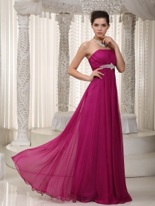 Empire Strapless Chiffon Beading Pageant Celebrity Dress