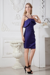 Purple Column Homecoming Cocktail Dress Spaghetti Straps