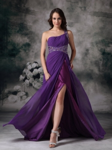 One Shoulder Train Chiffon Pageant Evening Dress