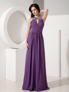 Purple Empire Pageant Evening Dress Scoop Neck Chiffon