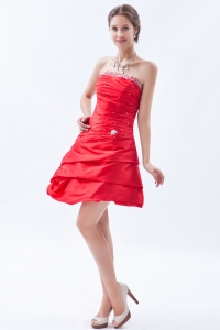 Red Princess Prom Holiday Dresses Strapless Taffeta