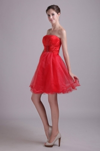 Red A-line Holiday Cocktail Dresses Strapless Short