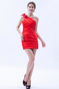Red Column Prom Holiday Dresses Sheath Satin Bow