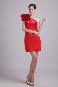 Red Column Holiday Cocktail Dresses One Shoulder