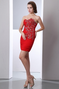 Red Column Chiffon Beading Prom Homecoming Dress